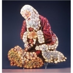 Kneeling Santa With Baby Jesus Lighted Holographic Christmas Yard Art