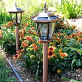 Antique copper carriage landscape solar lights better - Better homes and gardens solar lights ...