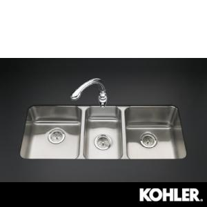 KOHLER Undertone Triple Basin Undercounter Kitchen Sink, Stainless .