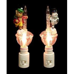Set of 2 Bubble Light Christmas Night Lights Snowman ...
