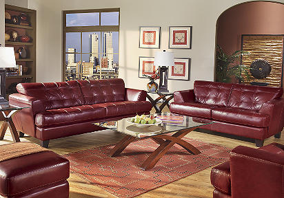 Cindy Crawford Home Avenue Red Leather 7 Pc Livingroom