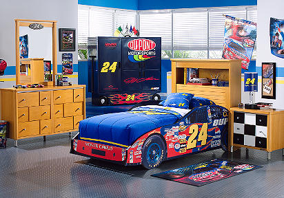 Nascar Bedroom Furniture Nascar Jeff Gordon 3 Pc Twin Bookcase Car Bedroom .
