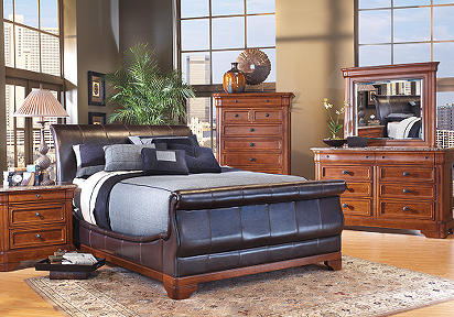 Cindy Crawford Home Savannah Bi-Cast Leather 7 Pc Queen Bedroom ...