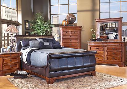 Cindy Crawford Home Savannah Bi Cast Leather 7 Pc Queen Bedroom
