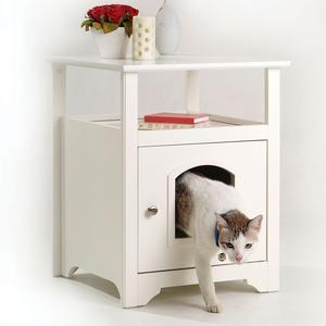 Wooden End Table With Hidden Litter Box