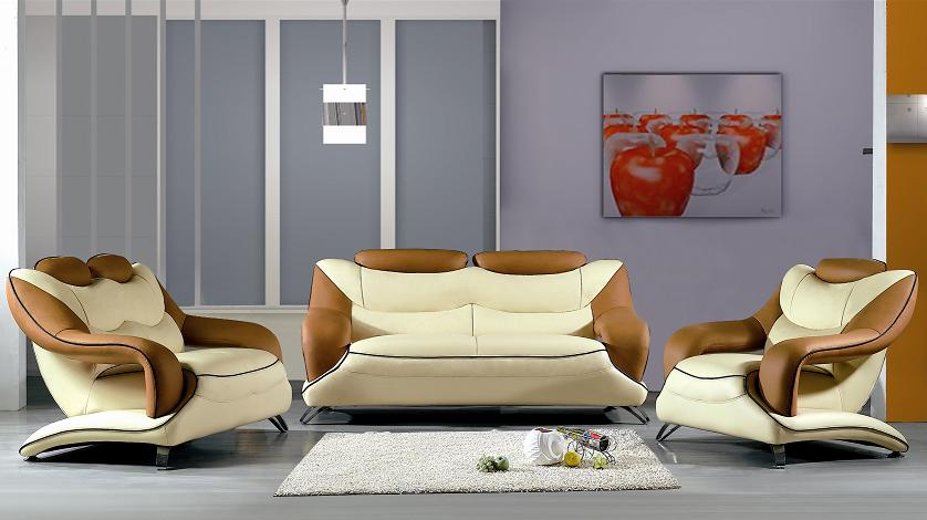 7055 beige brown  Leather sofa set