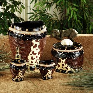 Animal Print Bath Accessories Set