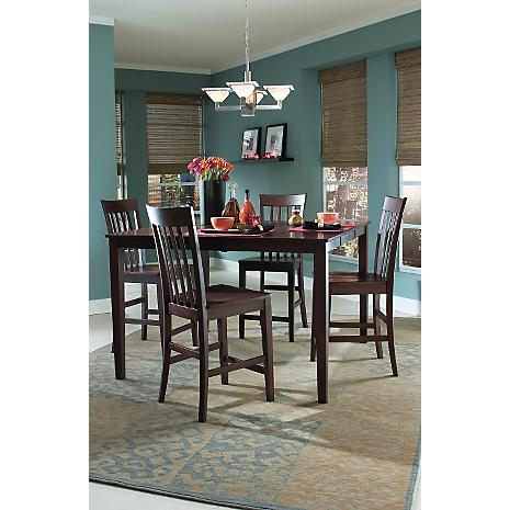 Arts crafts chocolate gathering 5 pc dining set for Arts and crafts 5 piece dining set
