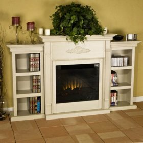 Add warmth and ambience to your home with this fireplace. This electric fireplace brings the relaxing feel of a wood-burning fireplace to your home without the mess! With bookcases on either side