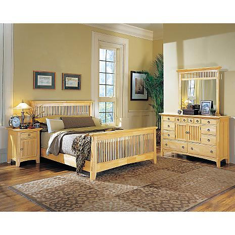 Arts crafts natural finish 5 pc king bedroom package for American signature furniture arts and crafts collection