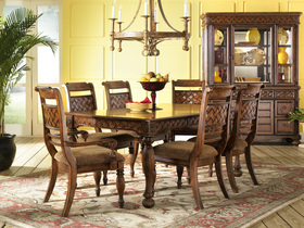 piece formal tropical brown wood relaxed dining room furniture set
