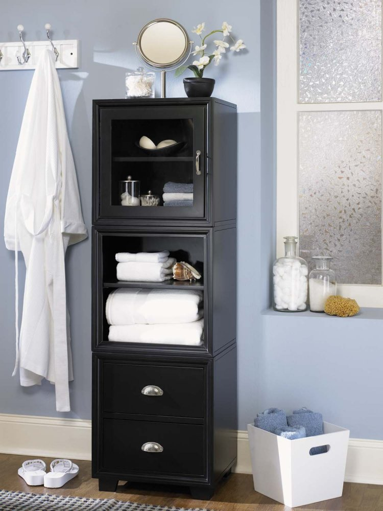 Innovative People Start With Just The Bathroom Vanity, Only Later Realising The Need For Additional Bathroom Storage And Cabinets  While Touches Of Black Ground The Feminine
