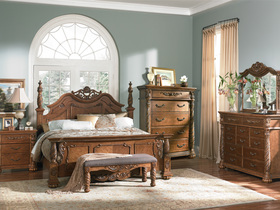 Beautiful And Elegant Brown Hardwood Bedroom Furniture