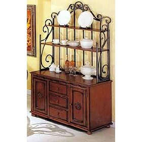 Marvelous Brown Wood And Wrought Metal Buffet And Hutch