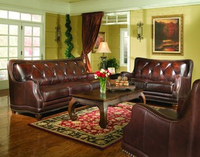 Classic Tight Leather Sofa Love Seat Couch Living Room Furniture