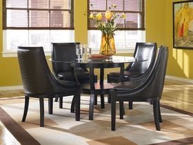 Dining Room on Contemporary Black Round Glass Table Dining Room Set