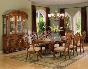 Elegant Formal Dining Room Set With Marble Inset Top
