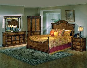 Elegant French Empire Queen King Panel Bed Bedroom Set