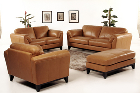 Beautiful Full Leather Sofa Love And Chair Butterscotch Bench Ottoman