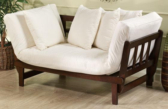 Mission-Style Off-White Convertible Studio Lounge : convertible chaise lounge bed - Sectionals, Sofas & Couches