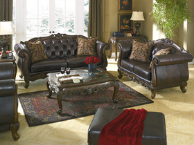 Tufted European Leather Furniture Sofa Set