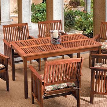 Acacia Wood Rectangular Table Outdoor Patio Set. Outdoor Dining Table   Betterimprovement com