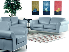 All Leather Sofa And Love Ice Blue With Chrome Legs