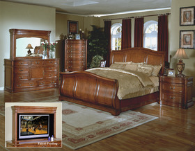 antqiue cherry king queen sleigh bedroom furniture set
