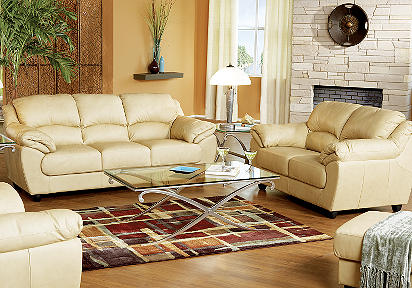 Merveilleux Caruso Cream Leather 6 Pc Livingroom