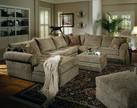 Chenille Sectional Sofa Couch in Olive Fabric & Chaise ...