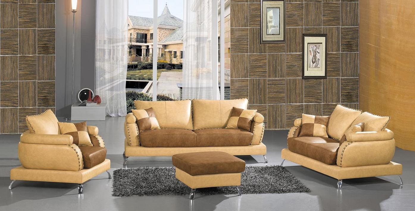 Contemporary modern leather sofa set