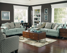Cool Light Blue Sofa Contemporary Couch Living Room Furniture Set