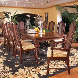 Dining Set With Cane Back Chairs In Warm Mahogany