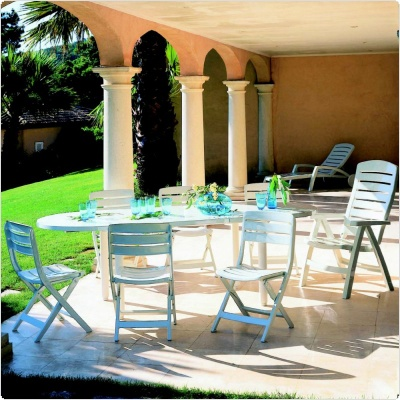 White Resin Wicker Patio Furniture on Patio Furniture Dining Set     Ascot 9 Piece