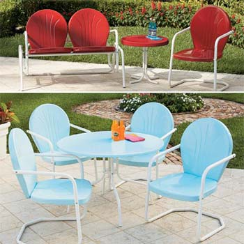 Retro metal outdoor furniture home design Metal patio furniture vintage