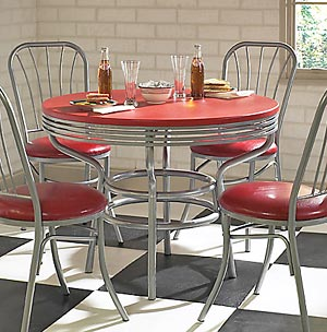 Retro Red Laminate Dining Table W Chrome Plated Base