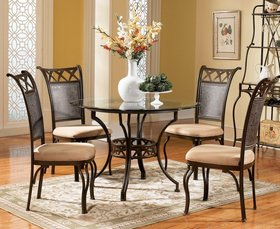 rich antique bronze round pedestal glass dinette table set - Glass Kitchen Table Sets