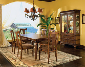 Delightful Tropical Distressed Brown Rectangular Dining Room Set
