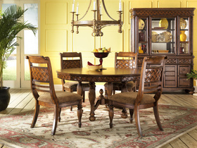 tropical relaxed brown round dining room table set