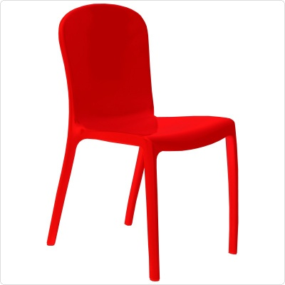 Victoria glossy plastic outdoor bistro chair red - Red plastic outdoor chairs ...