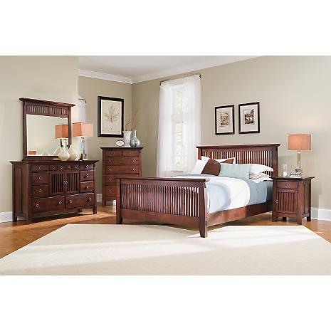 Arts crafts chocolate finish 5 pc queen bedroom package for Arts and craft bedroom furniture