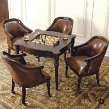 Great Freeman Game Table And Leather Chairs With Game Table Chairs With  Casters
