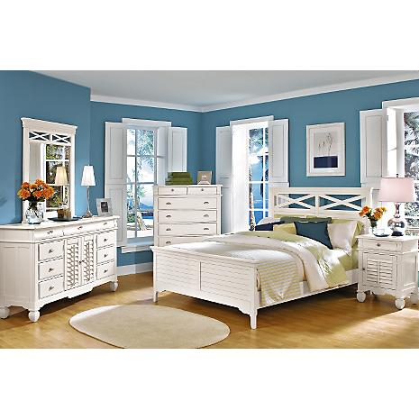 plantation cove panel white 5 pc king bedroom package