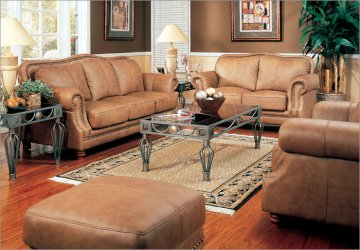 Savannah Leather Sofa Living Room Set