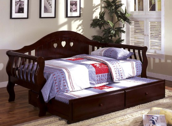 wooden daybed frame with trundle bed in cherry