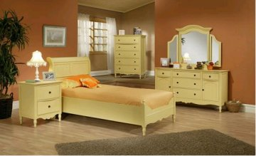 Country Charm Ercup Yellow Twin Sleigh Bedroom Furniture