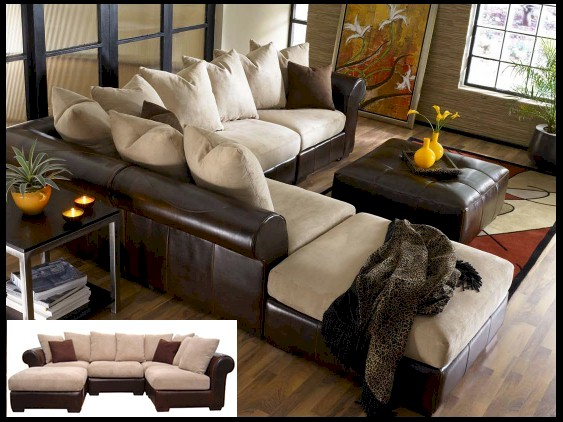 leather and fabric sectional sofa