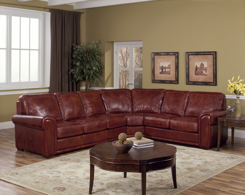 Red Leather Sectional Sofa 622ang Modern Red Italian Leather ...