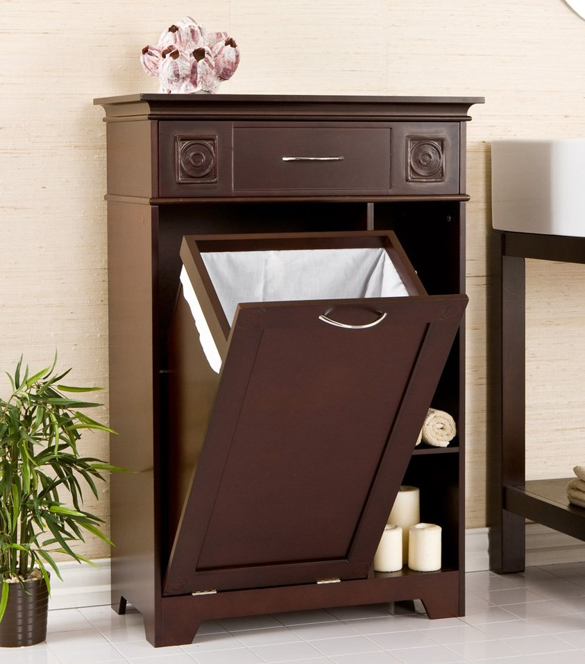 BATHROOM STORAGE CABINET WITH TILT OUT LAUNDRY HAMPER   WEB