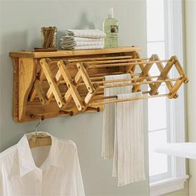 Bedding Bath Wooden Retractable Towel Rack